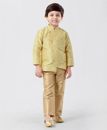Little Aryan Full Sleeves Asymmetrical Self Designed Sherwani With Pajama - Yellow