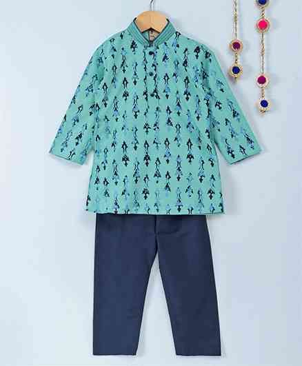 Little Aryan Full Sleeves Kurta Pyjama Set Designer Print - Sea Green Navy Blue