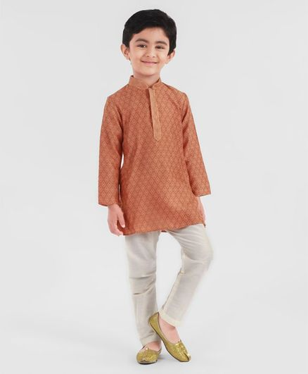 Little Aryan Full Sleeves Printed Kurta Pyjama Set - Rust Orange