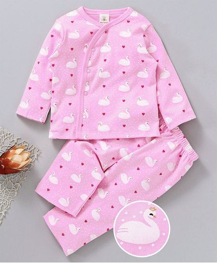 d396942157 Buy Baby Naturelle & Me Full Sleeves Night Suit Swan Print Pink for ...
