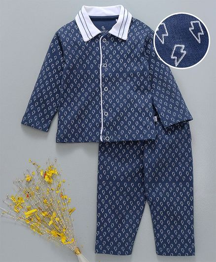 fb6b321dd1b9e Buy Baby Go Full Sleeves Night Suit Thunder Print Navy Blue for Both (0-6  Months) Online in India, Shop at FirstCry.com - 2214046