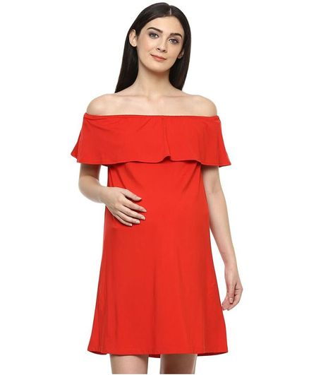 6f42d2dbd4 Momsoon Off Shoulder Solid Color Maternity Dress Orange Online in ...