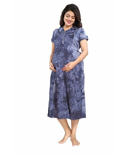 2f43c7d7ce208 Mammas Maternity Cotton Printed Dress Blue Online in India, Buy at ...