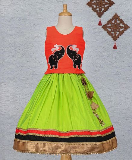 Li&Li Boutique Elephant Design Lehenga & Choli Set - Orange & Green