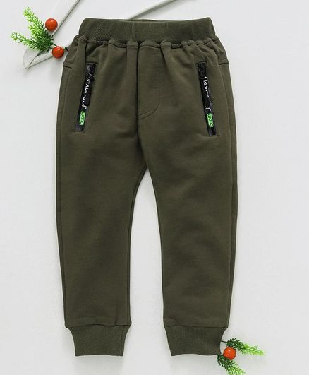 Menga Wa Solid Full Length Track Pants - Green