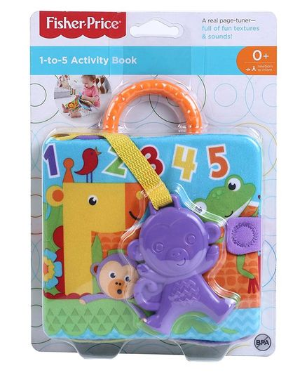 a22a1df83d9 Fisher Price 1 to 5 Soft Activity Book With Monkey Teether Purple ...