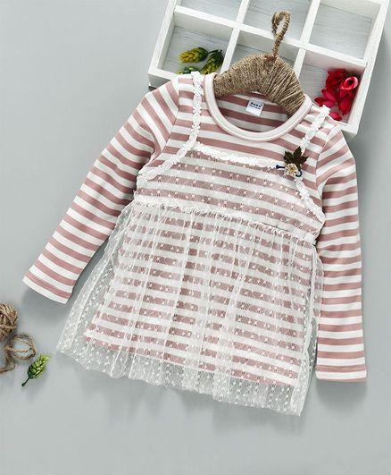 70aec305 Buy Menga Wa Striped Full Sleeves Top Blush Pink for Girls (12-18 ...