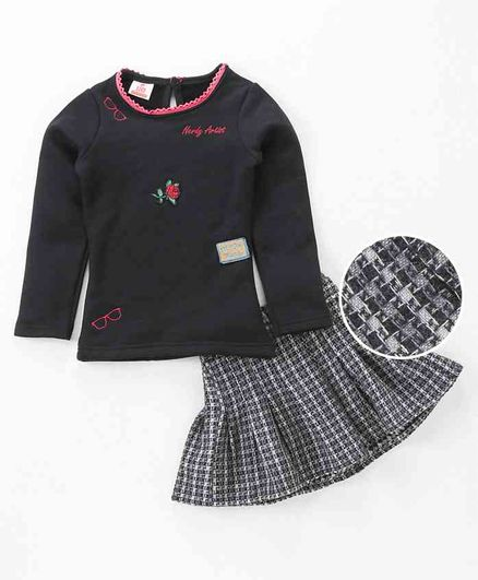 4b1694ff45727 Buy UFO Rose Applique Full Sleeves Top & Skirt Set Black for Girls (2-3  Years) Online in India, Shop at FirstCry.com - 2226371
