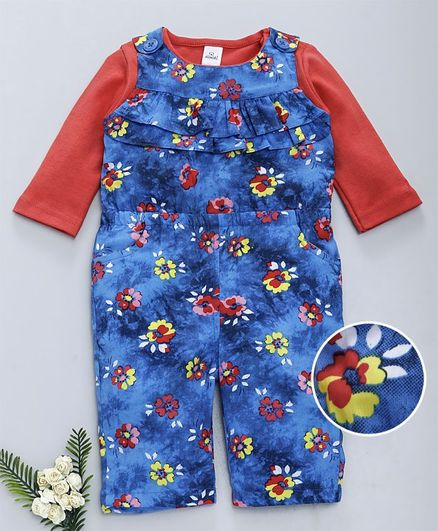 Olio Kids Dungaree With Tee Floral Print - Blue Red
