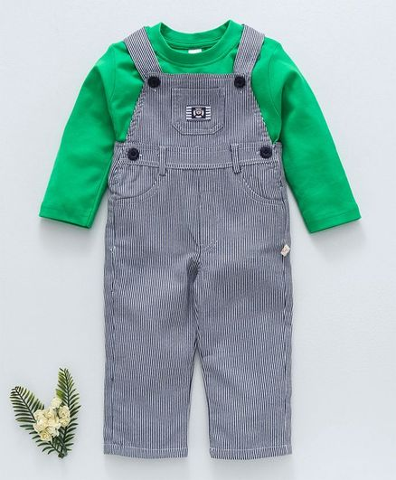 1ca785c01f6 Buy Olio Kids Dungaree Style Striped Romper With Tee Green Navy ...