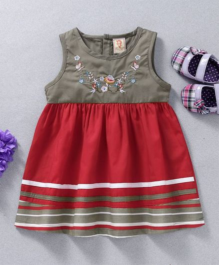 762999d1d4c5 Buy Sunny Baby Flower Embroidery Sleeveless Dress Red for Girls (0 ...