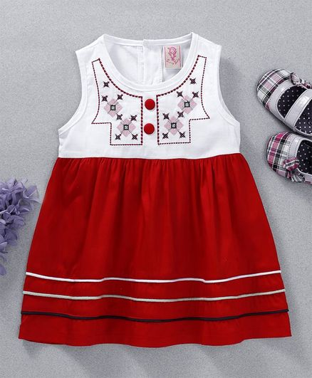 02b98433f47d Buy Sunny Baby Embroidered Sleeveless Dress Red for Girls (0-6 ...