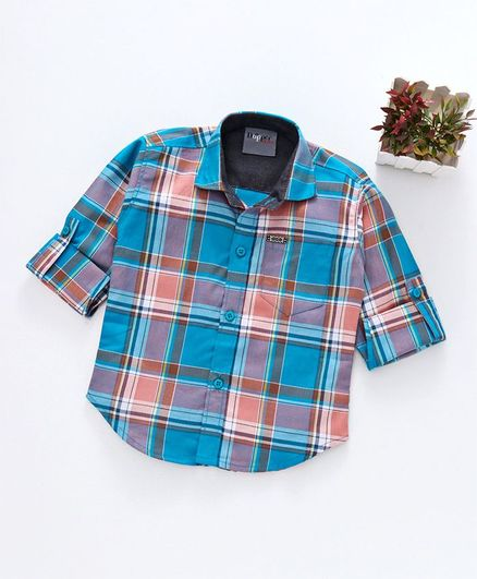 Dapper Dudes Checks Full Sleeves Collared Shirt - Blue