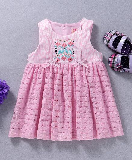 a6ce75b579ae Buy Sunny Baby Embroidered Sleeveless Casual Dress Pink for Girls ...
