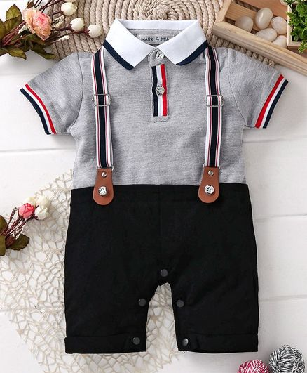 143d553368dcf Buy Mark & Mia Solid Suspender Style Half Sleeves Romper Grey for Boys (0-3  Months) Online in India, Shop at FirstCry.com - 2235616