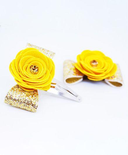 Little Tresses Flower Applique Hair Clip , Yellow