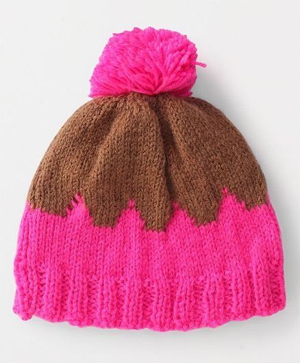 56448a4b0 The Original Knit Pom Pom Cap Pink & Brown Online in India, Buy at Best  Price from Firstcry.com - 2248421