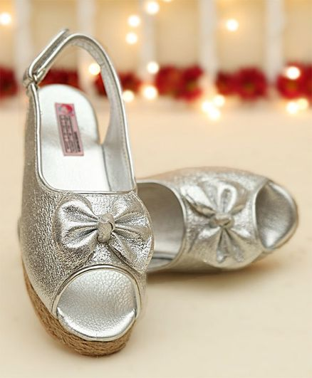 0beafb6783 Buy Dchica Wedge Heels With Bow Applique Silver for Girls (4-5 Years)  Online, Shop at FirstCry.com - 2255242