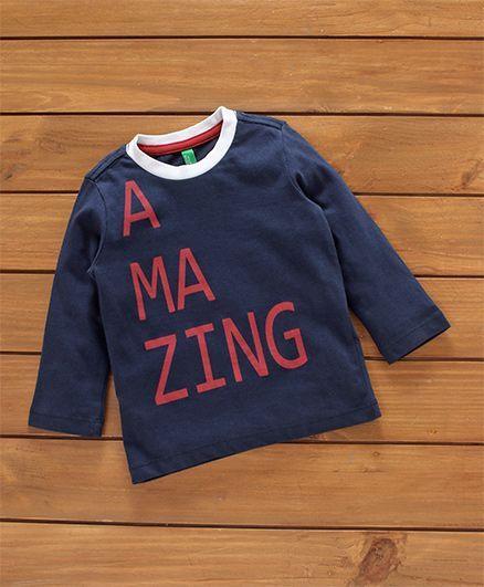 b4d7a6d7 Buy UCB Full Sleeves Tee Amazing Print Navy Blue for Boys (6-12 ...