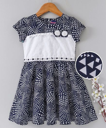Enfance Core Triangle Print Sleeveless Flare Dress - Navy Blue