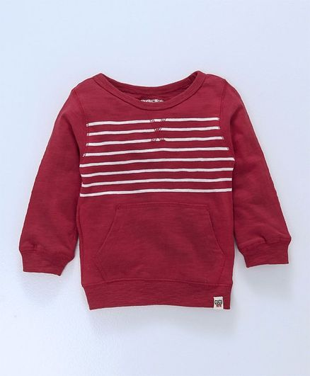 e08a7c814d33 Buy Cucumber Full Sleeves Winter Wear Striped Tee With Pocket Red ...