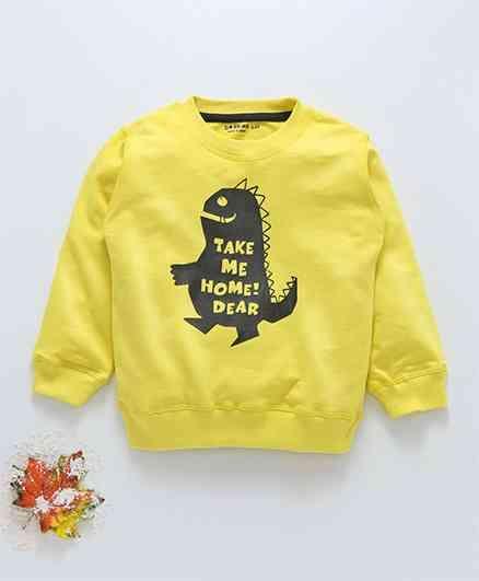 1da166d47df Buy Doreme Full Sleeves Winter Wear Tee Dinosaur Print Yellow for ...