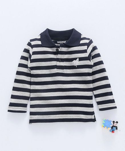 439f3cdf17 Buy Cucumber Full Sleeves Striped Tee Black for Boys (3-6 Months ...