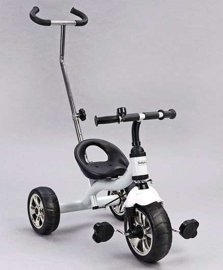 Babyhug Pluto Metal Tricycle With Parent Push Handle - White