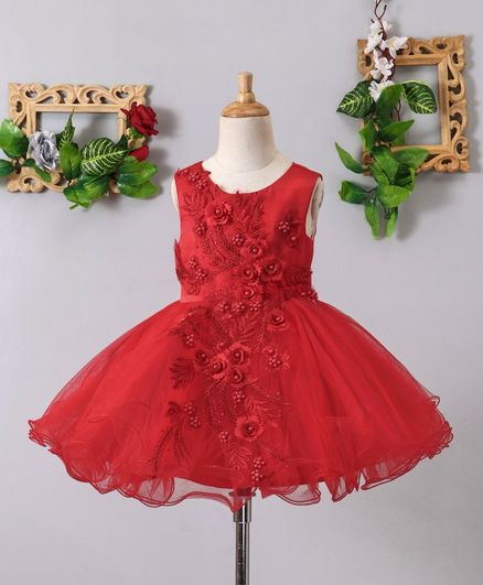 Mark & Mia Roses & Pearls Embellished Sleeveless Net Dress - Red