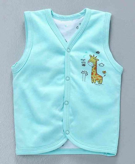 Cucumber Sleeveless Vest With Dual Side Giraffe Print - Aqua Bue