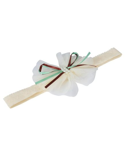 Funkrafts Headband With Pearl Detailing - Cream