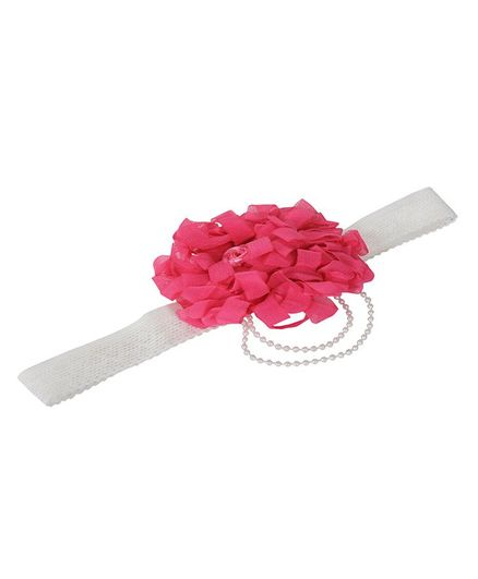 Funkrafts Headband With Rose Applique & Pearl Strings - White & Pink