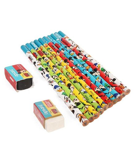 Apsara Disney Mickey Mouse Pencils With Eraser & Sharpener - Set of 10