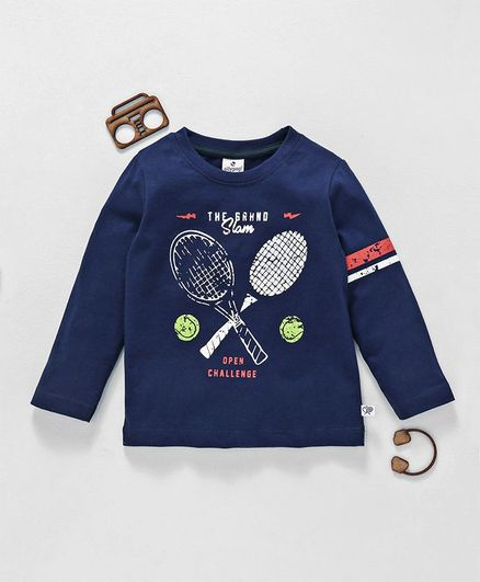 Ollypop Full Sleeves Tee Grand Slam Print - Dark Blue