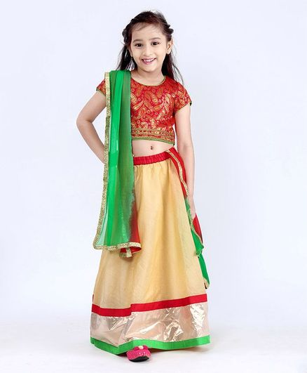 35a3a4fddb Buy Kids Chakra Solid Ghagra Choli Red for Girls (6-7 Years) Online ...