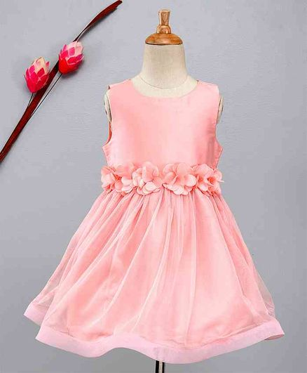 KIDSDEW Floral Belt Taffeta Dress With Gathered Flare - Light Pink