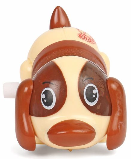 Playmate Wind Up Puppy Toy - Cream & Brown