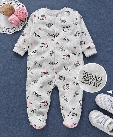 dd804eab900e Buy Fox Baby Full Sleeves Footed Romper Hello Kitty Print Grey for ...
