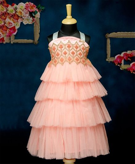 Barbie By Many Frocks & Frilly Party Gown - Peach