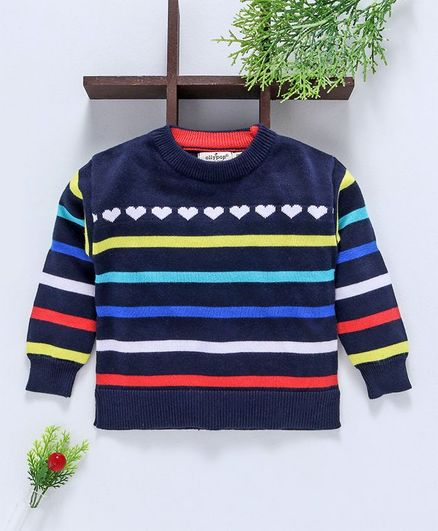 Ollypop Full Sleeves Organic Sweater Striped - Navy