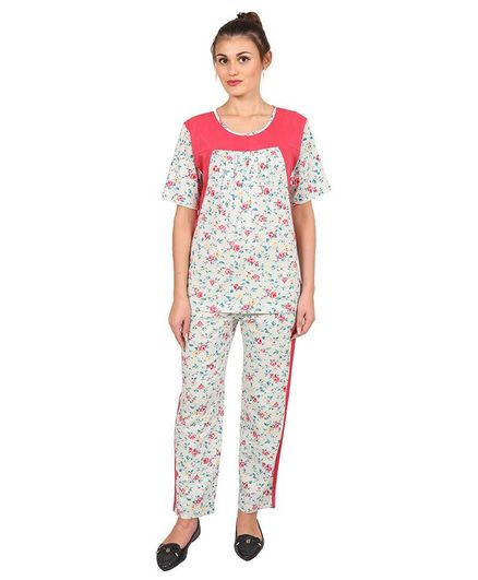 c2b4ab59e8 9teenAGAIN Floral Printed Night Suit Set Pink & White Online in India ...