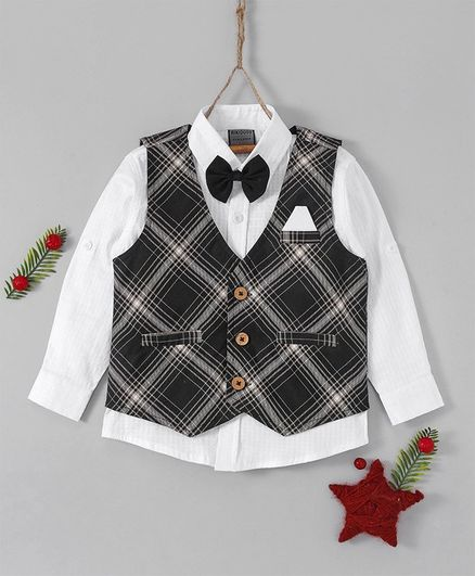 Rikidoos Solid Full Sleeves Shirt With Checkered Waistcoat & Bow - Black