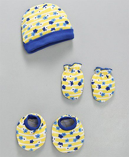 679dd0ccb Babyhug Cotton Cap And Mittens With Booties Floral Print Yellow Blue ...