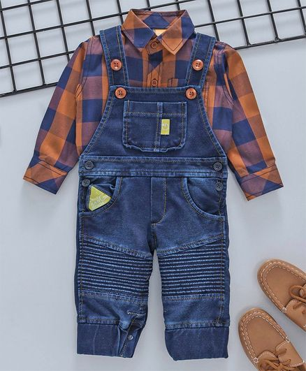 1b2dc6665a65 Little Kangaroos Dungaree Style Romper With Checked Shirt - Blue   Brown
