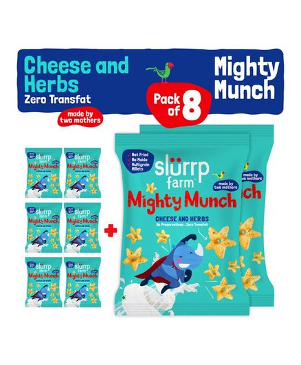 Slurrp Farm Mighty Munch Cheese & Herbs Pack of 8 Online in India, Buy at  Best Price from Firstcry com - 2326838