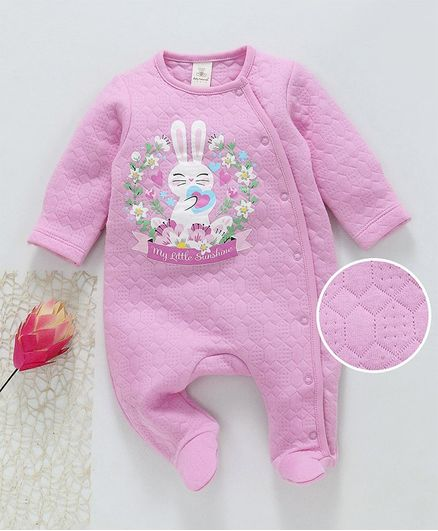 55de5775630f Baby Naturelle & Me Winter Wear Full Sleeves Footed Romper Bunny Print -  Pink. 0 to 3 Months ...