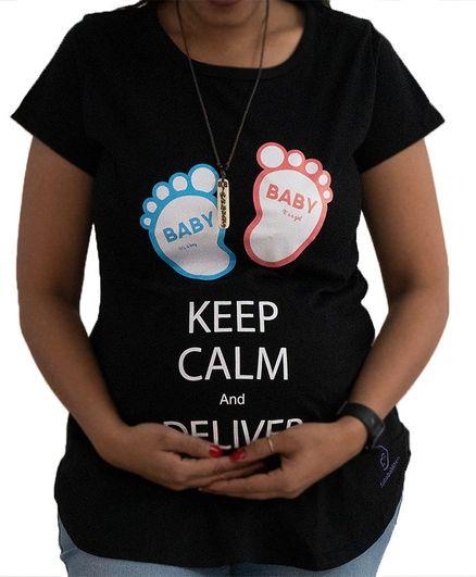 da1e9c009f1a0 Sababa Miteri Short Sleeves Maternity Tee Keep Calm Print Black ...