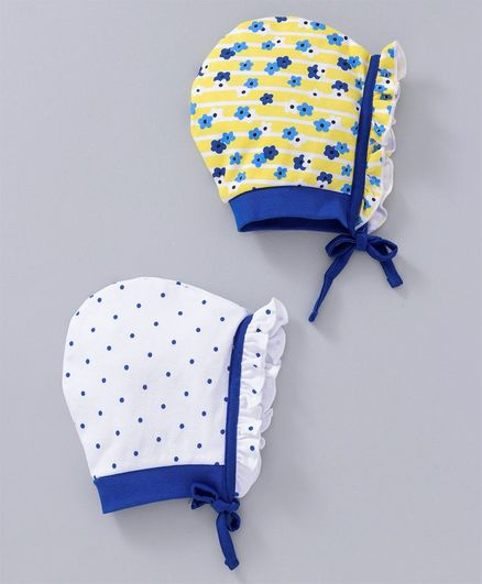Babyhug Cotton Bonnet Caps Dotted & Floral Print Pack of 2 - Blue Yellow