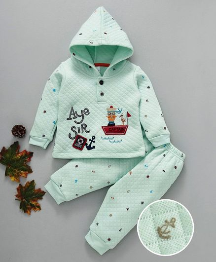 Ollypop Full Sleeves Night Suit Captain & Boat Print - Sea Green