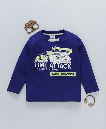 Ollypop Full Sleeves Tee Car & Text Print - Dark Blue